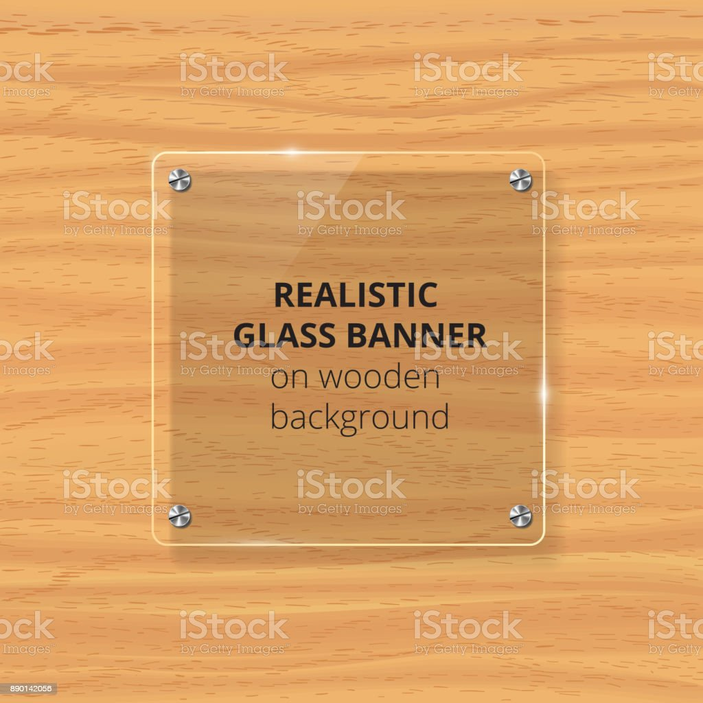 Transparent glass plate mock up. Yellow wooden background. Decorative graphic design element. Plastic glossy panel with reflection, shadow. vector art illustration