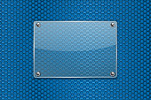 Transparent glass plate on blue metal perforated background. Vector 3d illustration