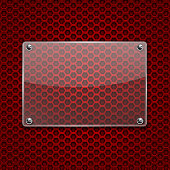 Transparent glass plate on red metal perforated background. Vector 3d illustration