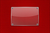Transparent glass plate on red perforated background. Vector 3d illustration