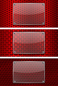 Transparent glass plate on red perforated backgrounds. Vector 3d illustration