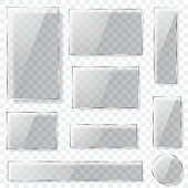 Transparent glass plates in gray colors