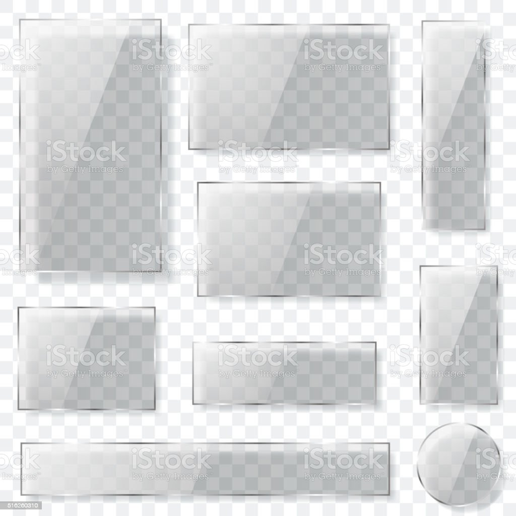 Transparent glass plates in gray colors vector art illustration