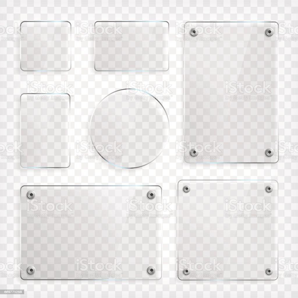 Transparent Glass Plates Set vector art illustration