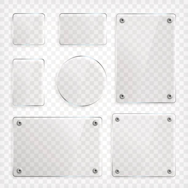 transparentes glas platten set - glasteller stock-grafiken, -clipart, -cartoons und -symbole
