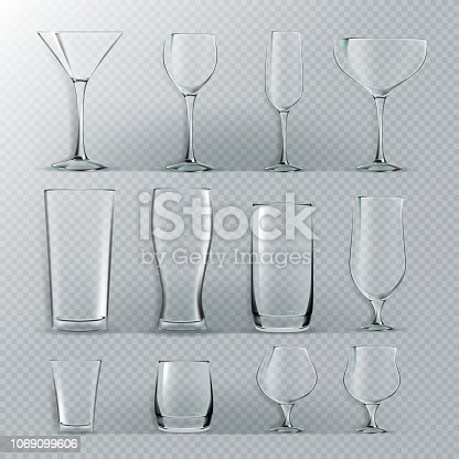 Transparent Glass Set Vector. Transparent Empty Glasses Goblets For Water, Alcohol, Juice, Cocktail Drink. Realistic Illustration