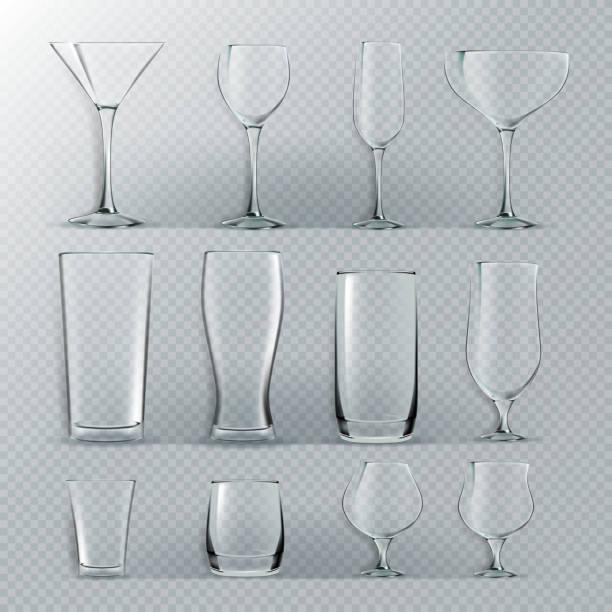 透明なガラスは、ベクトルを設定します。透明な空は、水、アルコール、ジュース、カクテルを飲むのためのゴブレットをメガネします。現実的な明るいイラスト - ワイングラス点のイラスト素材/クリップアート素材/マンガ素材/アイコン素材
