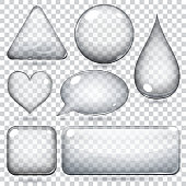Transparent glass shapes or buttons various forms. Vector illustrations.