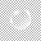 Transparent glass sphere with glares and highlights. Vector illustration with transparencies, gradient and effects. Realistic glossy orb, water soap bubble, white pearl.