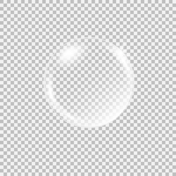 Transparent glass sphere with glares and highlights Transparent glass sphere with glares and highlights. Vector illustration with transparencies, gradient and effects. Realistic glossy orb, water soap bubble, white pearl. sphere stock illustrations
