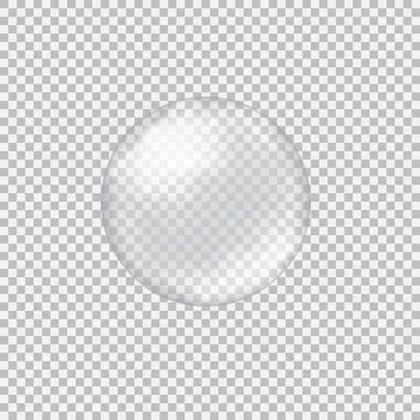 transparente glaskugel mit starrt und highlights - blase physikalischer zustand stock-grafiken, -clipart, -cartoons und -symbole