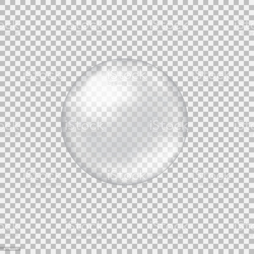 Transparent glass sphere with glares and highlights vector art illustration