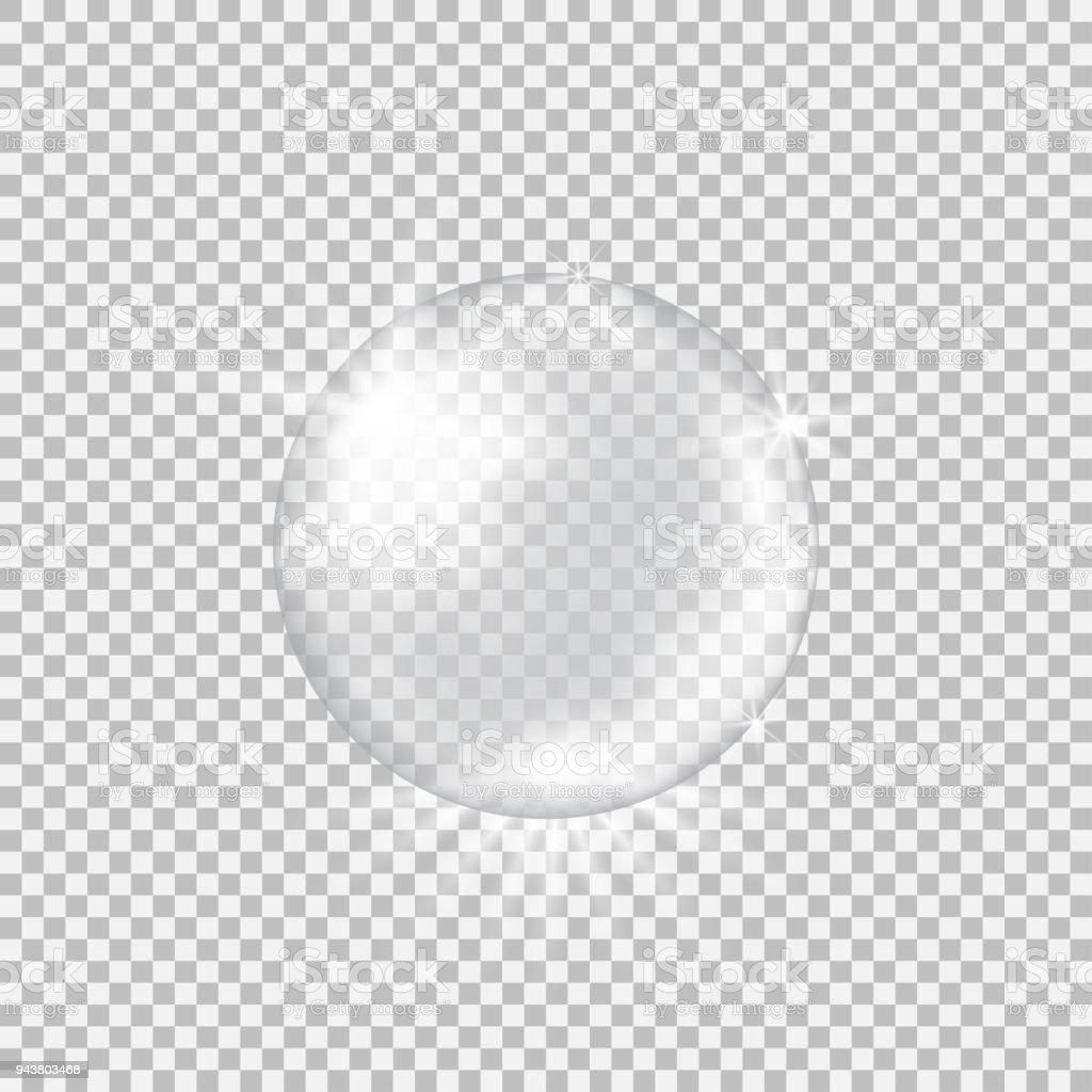 Esfera de cristal transparente con resplandores y reflejos - ilustración de arte vectorial