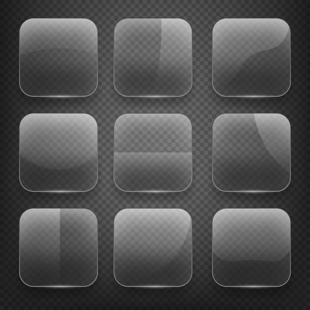 Transparentes Glas Platz app-Schaltflächen auf Kariertes Hintergrund. Vektor Symbole – Vektorgrafik