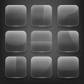 Transparent glass square app buttons on checkered background. Vector icons