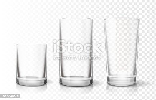 Transparent glasses various goblets set. Realistic vector icon