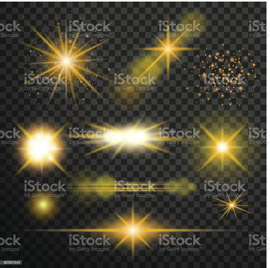 Transparent glow light effect. Star burst with sparkles.lens fla vector art illustration