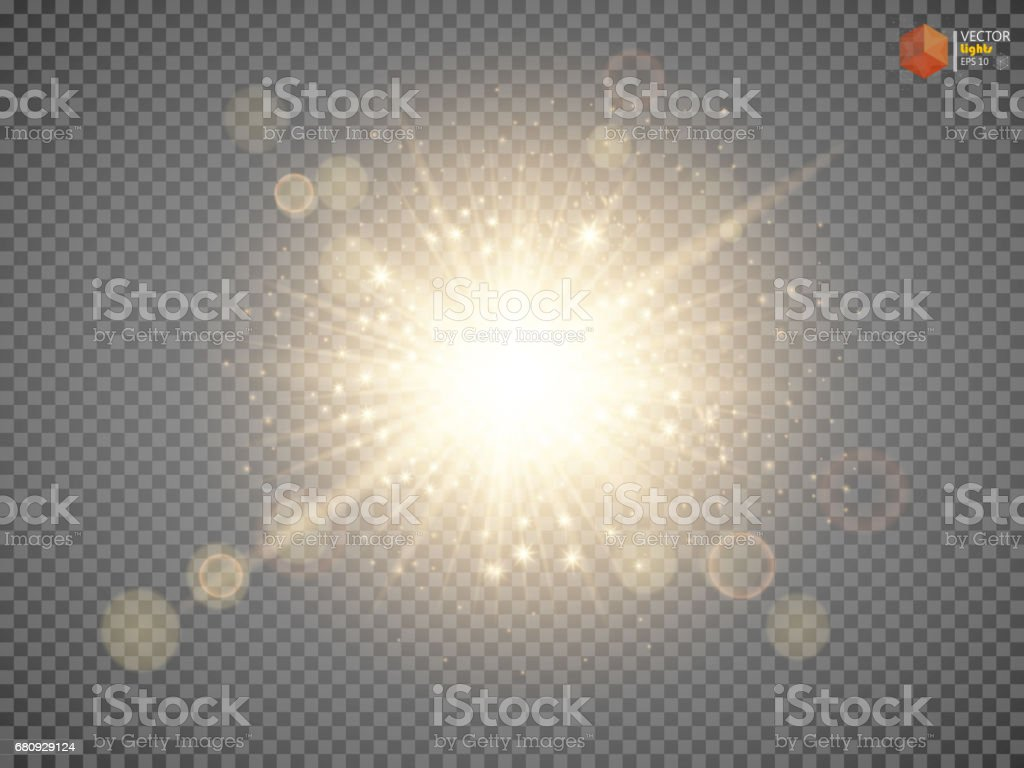 Transparent Golden Glow light effect. vector art illustration