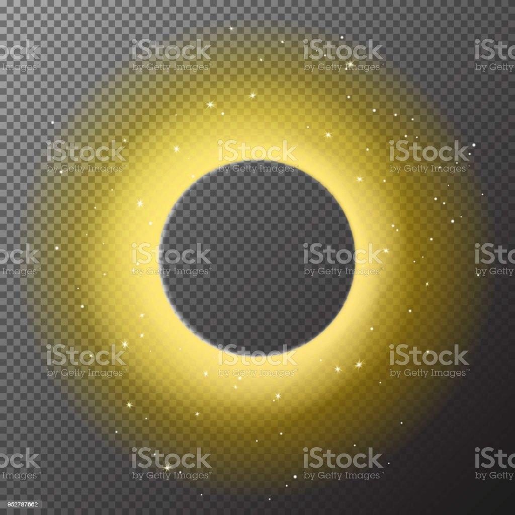 Transparente Runde Glänzende Goldrahmen Hintergrund Mit Lichtern Auf ...