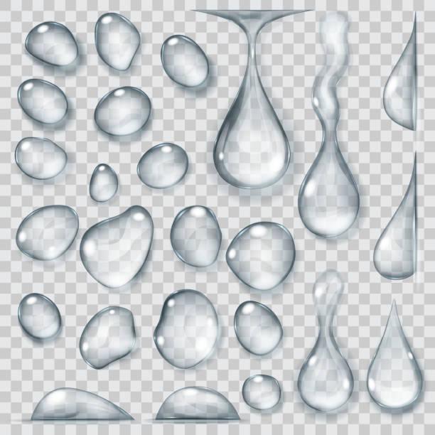 Transparent gray drops. Transparency only in vector format Set of transparent drops of different shapes in gray colors. Transparency only in vector format. Vector illustrations. EPS10 and JPG are available raindrop stock illustrations
