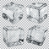 4 transparent gray ice cubes isolated on checkered back