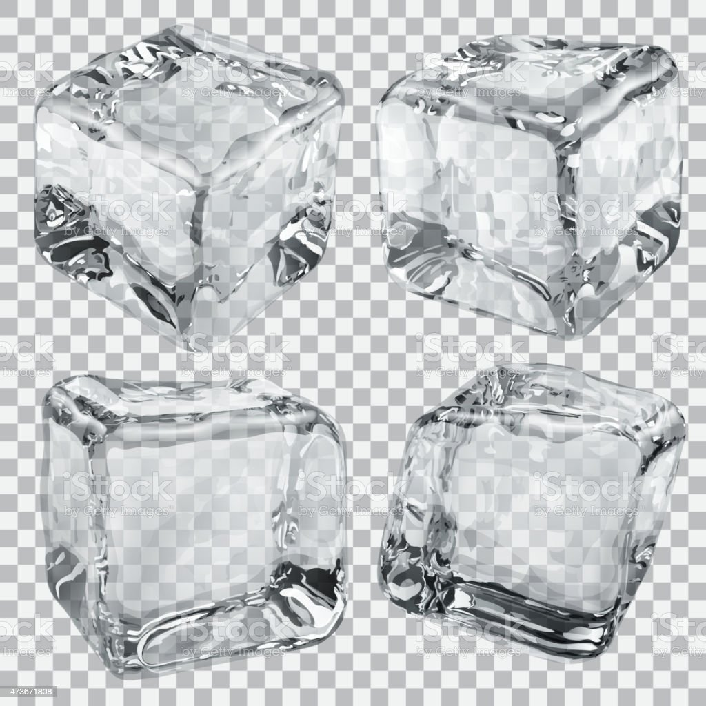 4 transparent gray ice cubes isolated on checkered back vector art illustration