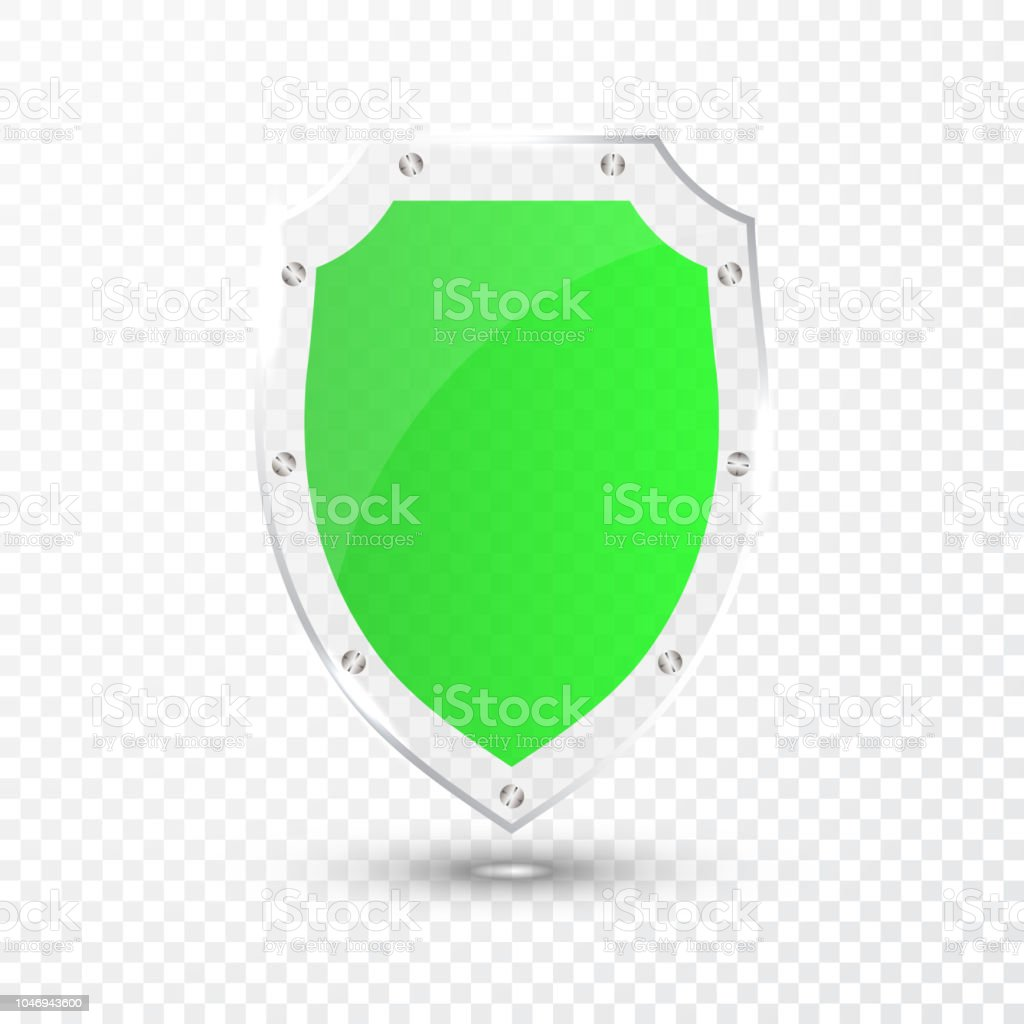 Transparent Green Glass Shield Icon On Transparent Background Vector