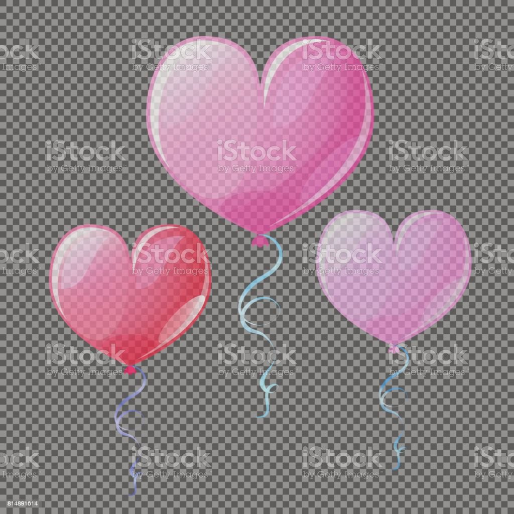 Transparent heart air balloon vector elements. Wedding decor heart balloon with transparency effect. vector art illustration