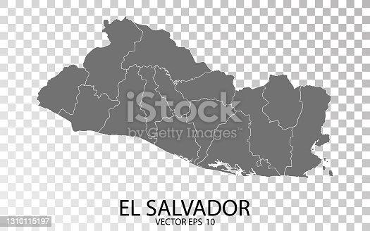istock Transparent - High Detailed Grey Map of El Salvador. 1310115197