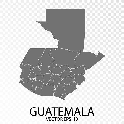 Transparent - High Detailed Grey Map of Guatemala