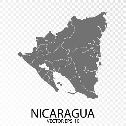 Transparent - High Detailed Grey Map of Nicaragua.