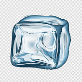 Transparent ice cube in blue colors on light gray background. Vector illustration EPS 10.