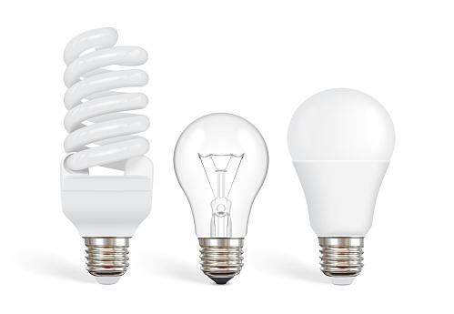 transparent incandescent bulb, fluorescent and led bulb