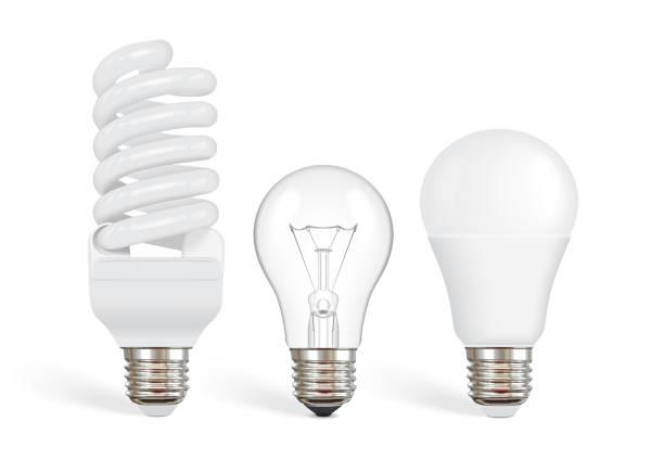 투명 한 백열 전구, 형광등 및 led 전구 - 전구 stock illustrations