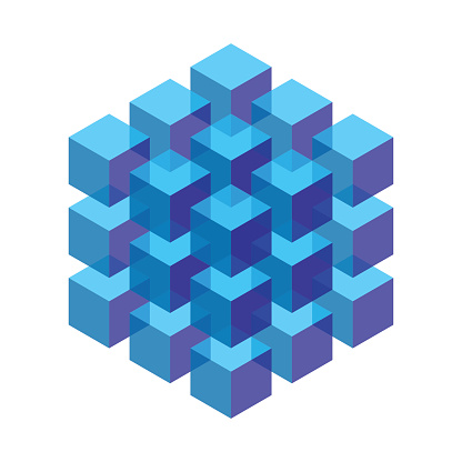 transparent isometric cubes stacked in a block