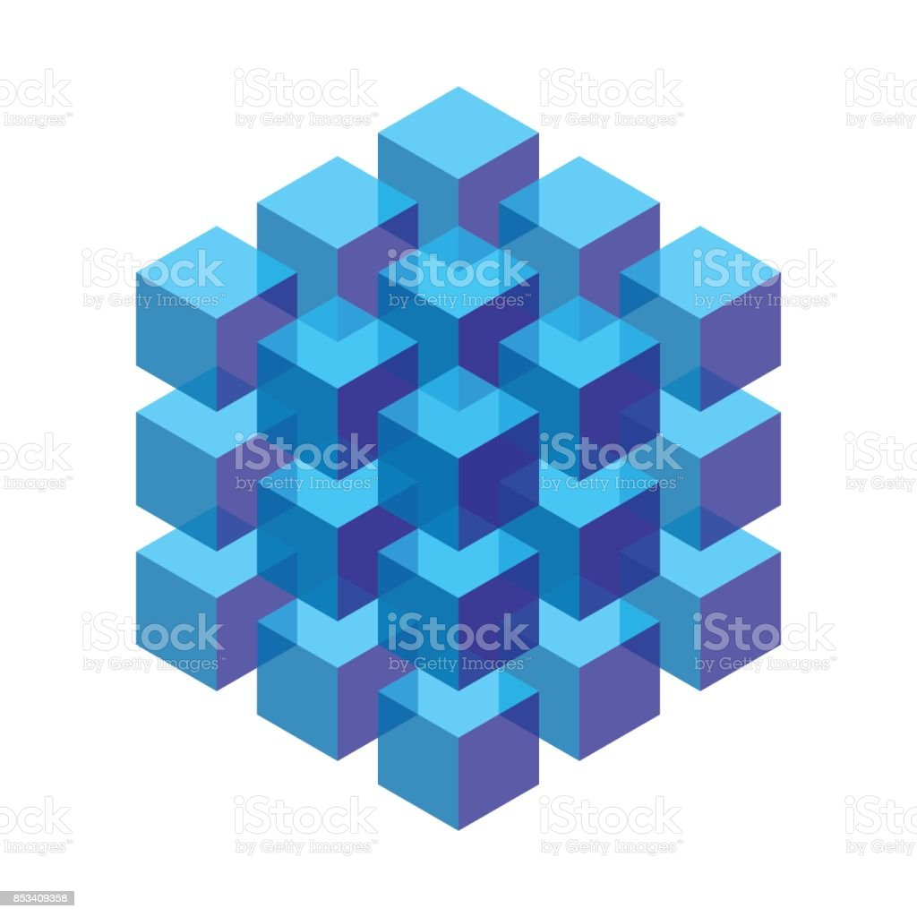 transparent isometric cubes stacked in a block vector art illustration