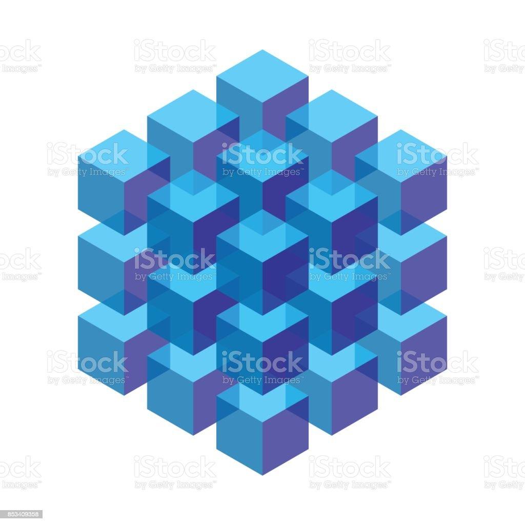 transparentes isométricos cubos empilhados em um bloco - ilustração de arte em vetor
