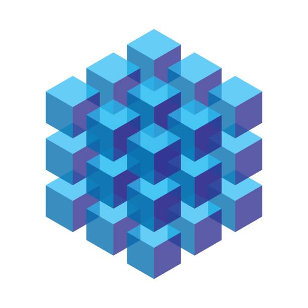 transparent isometric cubes stacked in a block isometric cubes stacked in a block. vector element for design cube shape stock illustrations