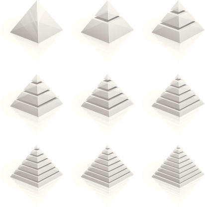 Transparent layered pyramids divided into two to nine rows