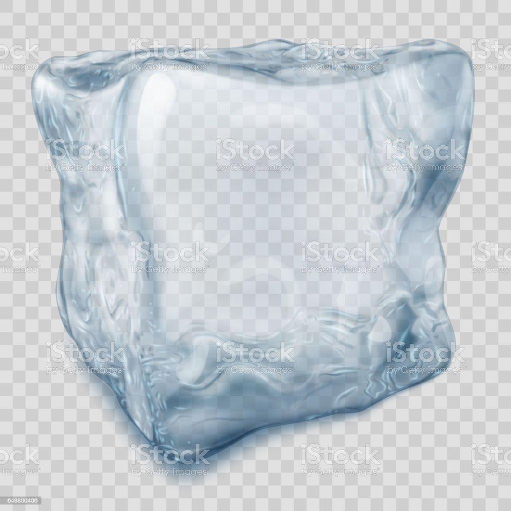 Transparent light blue ice cube vector art illustration