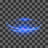 Transparent Light Effect Isolated on Checkered Background. Blue Lightning Flafe Design. Gold Glowing Stars. Abstract Ellipse with Circular Lens. Fire Ring Trace