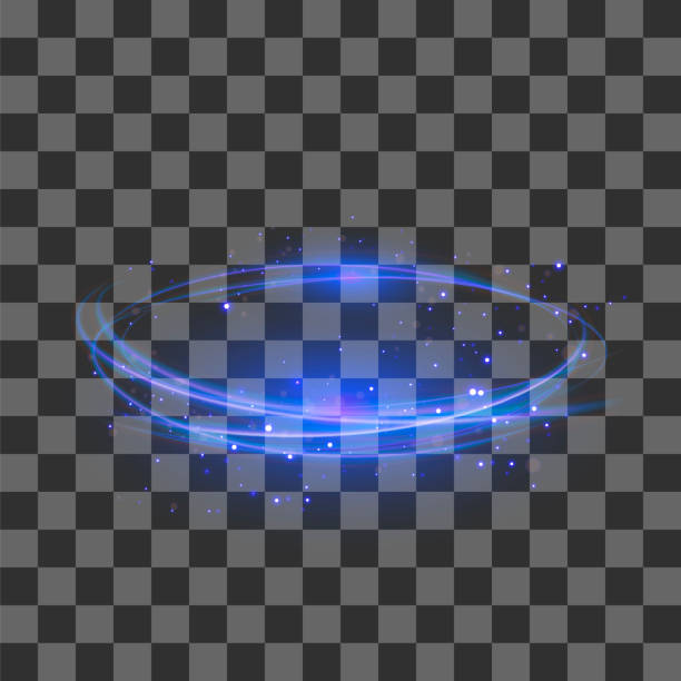 transparent light effect. blue lightning flafe design. abstract ellipse with circular lens. fire ring trace - paranormalny stock illustrations