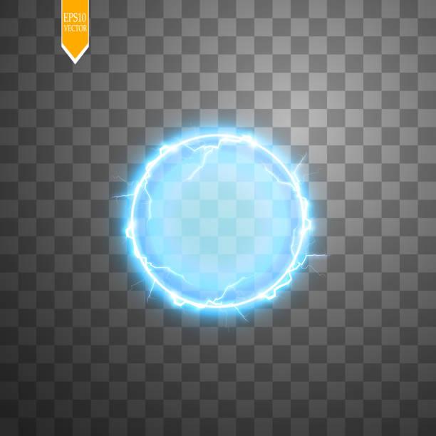 transparent light effect of electric ball lightning. magic plasma ball - сила природы stock illustrations