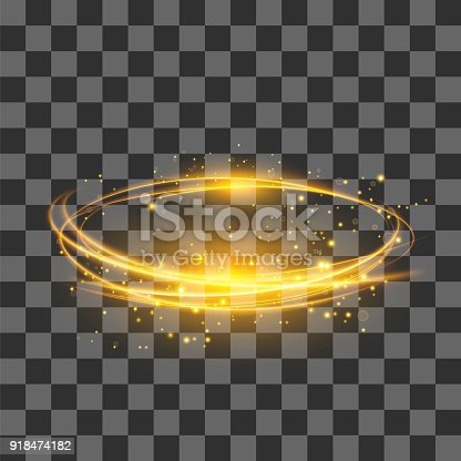 istock Transparent Light Effect . Yellow Lightning Flafe. Gold Glowing Stars. Ellipse with Circular Lens. Fire Ring Trace 918474182
