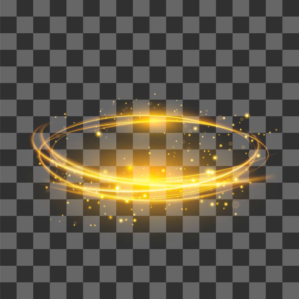 transparent light effect . yellow lightning flafe. gold glowing stars. ellipse with circular lens. fire ring trace - swirl pattern stock illustrations