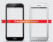 Transparent Mobile Phone Screens Vector Illustration.
