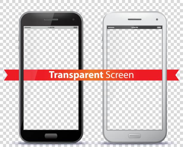 ilustraciones, imágenes clip art, dibujos animados e iconos de stock de ilustración de vector de pantallas transparente móvil. - teléfono inteligente