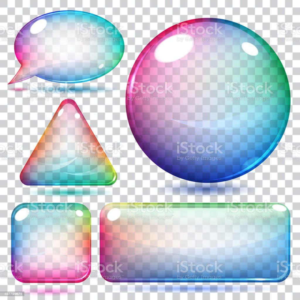 Transparent multicolor glass shapes vector art illustration