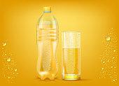 Transparent Orange Juice Plastic Bottle And Slightly Glass Background. 3d Photo Realistic Vector Illustration