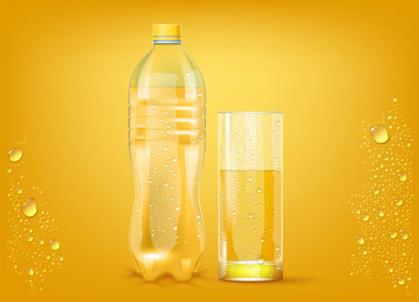 Transparent Orange Juice Transparent Orange Juice Plastic Bottle And Slightly Glass Background. 3d Photo Realistic Vector Illustration bottle stock illustrations